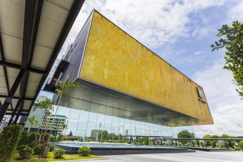 The floating facade of the Singha D'luck Cinematic Theatre