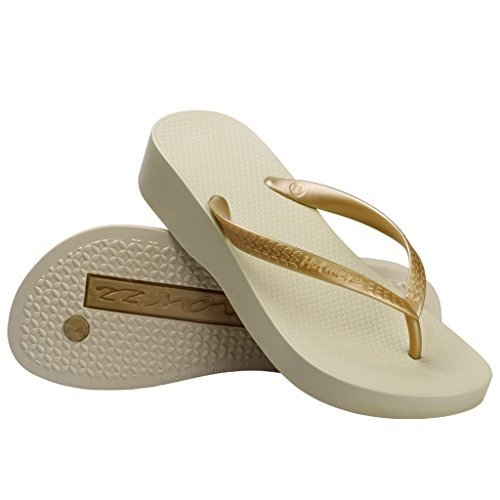 Hotmarzz Womens Platform Flip Flop Wedge Sandal Summer Beach Slippers , Apricot