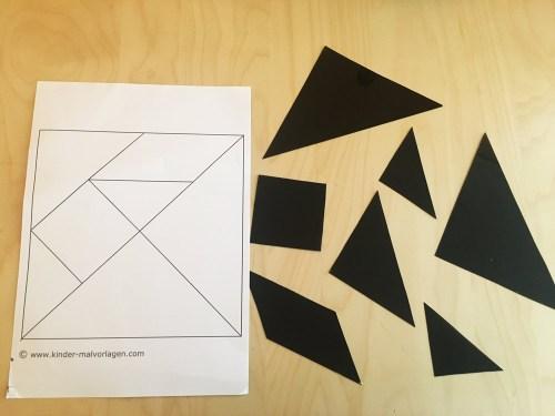 DIY Puzzles: Tangram mit Vorlagen sind auch super Beschäftigungsideen für Kinder.
