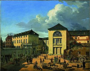 800px Andreas Achenbach The Academy Courtyard The Old Academy in Dusseldorf Google Art Project 1