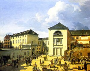 800px Die alte Akademie in Duesseldorf by Andreas Achenbach 1831