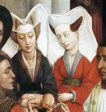 Rogier van der Weyden Seven Sacraments Altarpiece Baptism Confirmation and Penance detail baptism