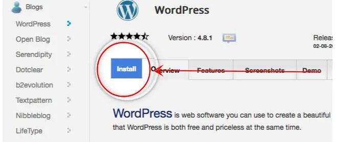 Softaculous wordpress install - siteground- start your wordpress blog
