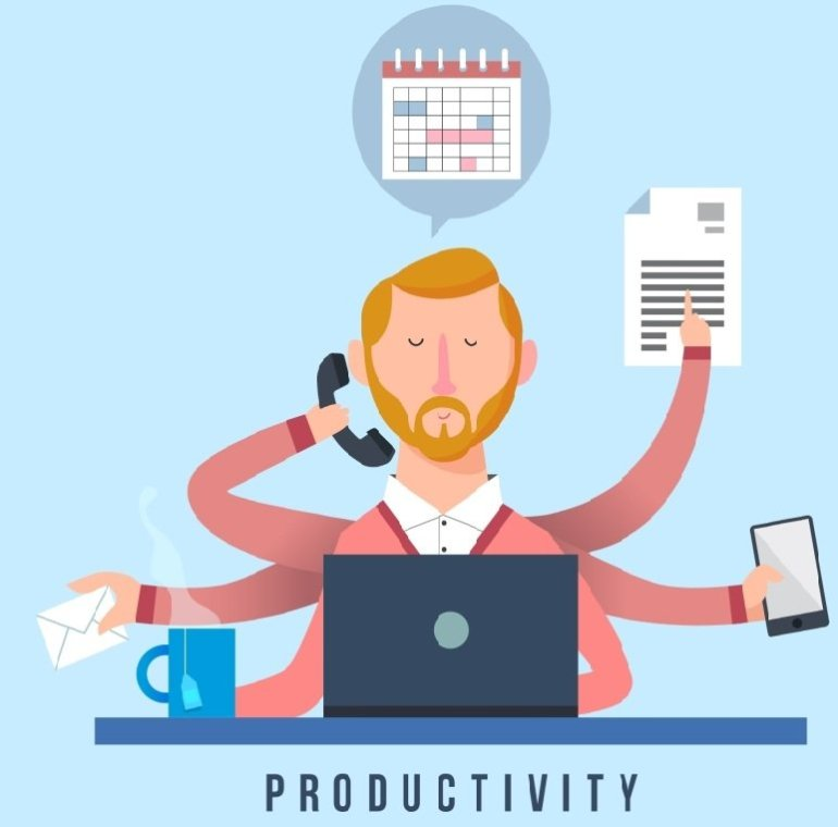 increase productivity at work - multi-handed multi-tasking male illustration image handling phone coffee, typing on the laptop, responding to chats on smartphone