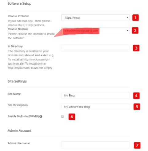 Complete form to install wordpress - siteground softaculous-smart entrepreneur blog