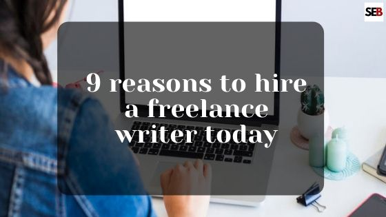 hire a freelance writer, a text overlay on a female in front of a laptop