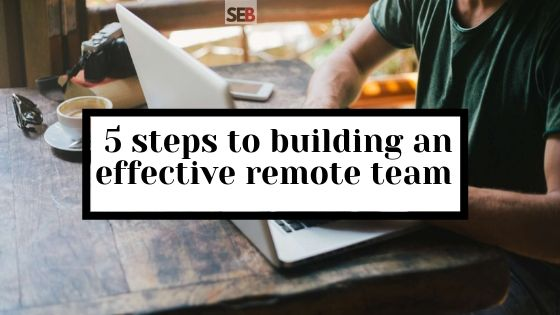 A remote work working from his laptop wondering how to build an effective remote team