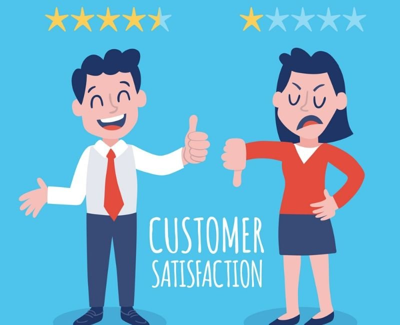 how to get customer testimonials for your business - two customers happy and unhappy