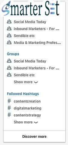 linkedin navigation for finding hashtags