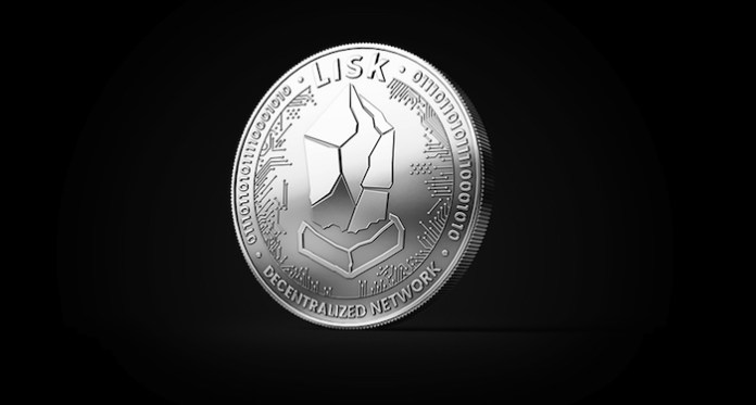 Silver LISK LSK cryptocurrency physical concept coin isolated on black  background. 3D rendering