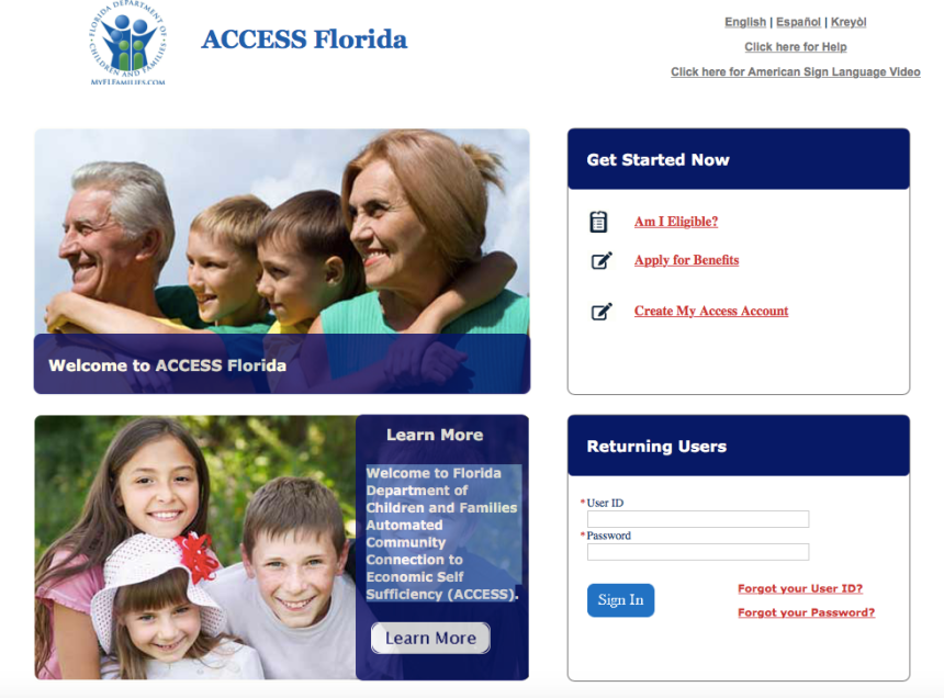 My Access Florida Fax Number
