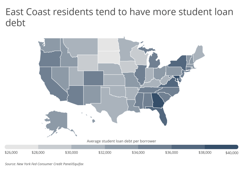 Chart3 East Coast residents tend to have more student loan debt