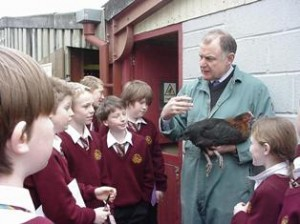 Students are introduced to some of the animals on the farm