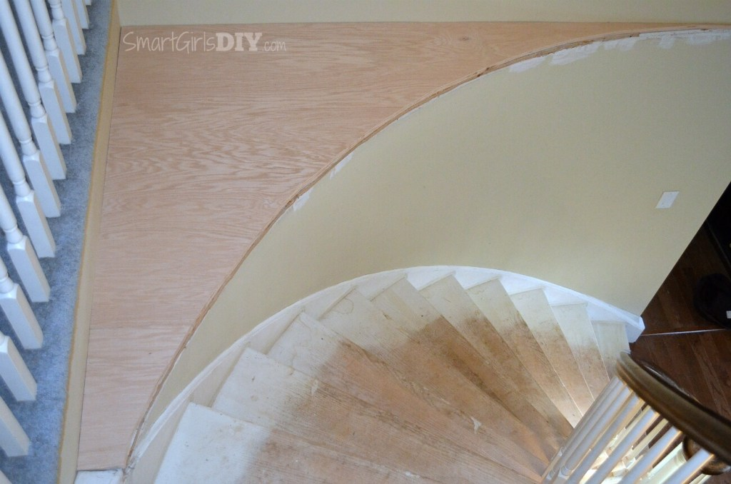 Plywood cut for staircase makeover