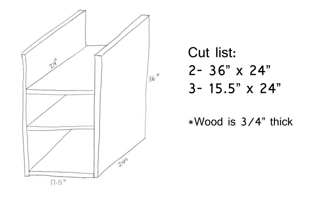 Laundry Basket Shelf Sketch