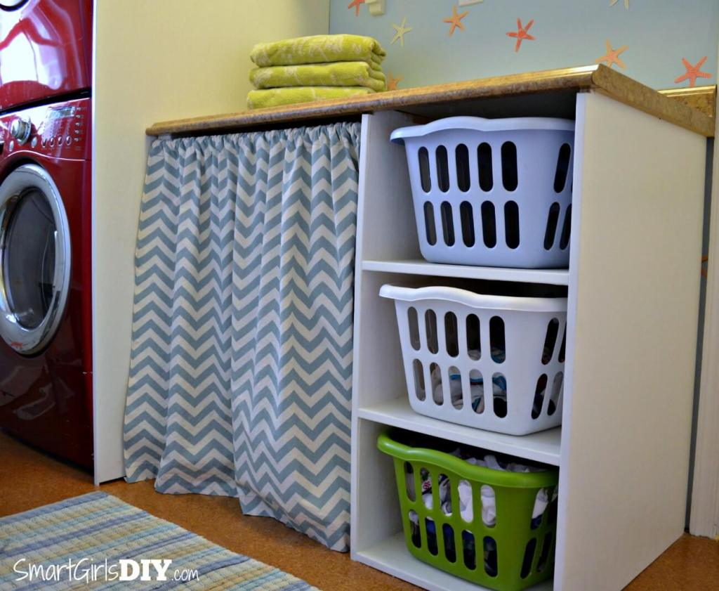 Laundry Basket Shelf and Bathroom Remodel by Smart Girls DIY
