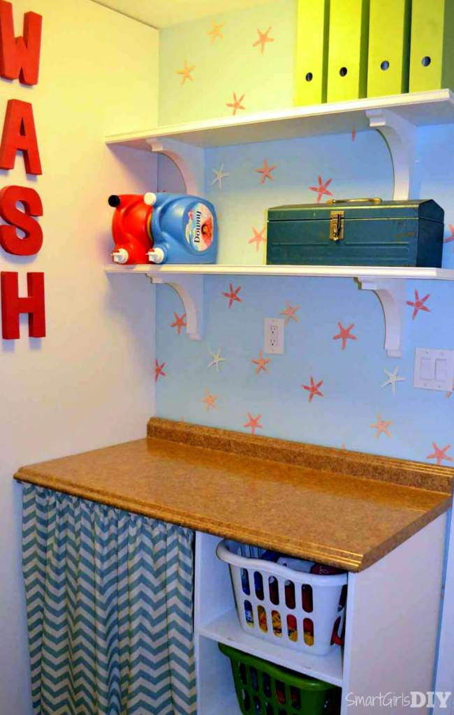 Smalll laundry shelves installed over folding counter