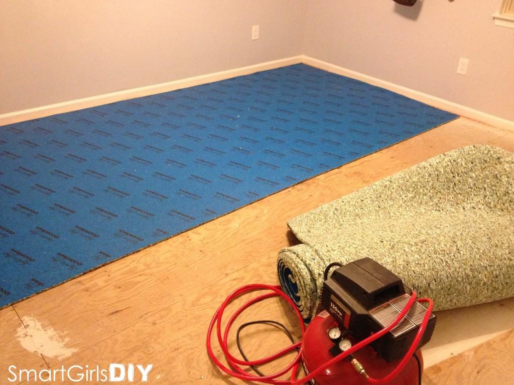 Carpet pad going in