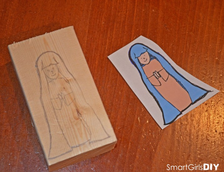 Nativity Block Set - Drawing Mary