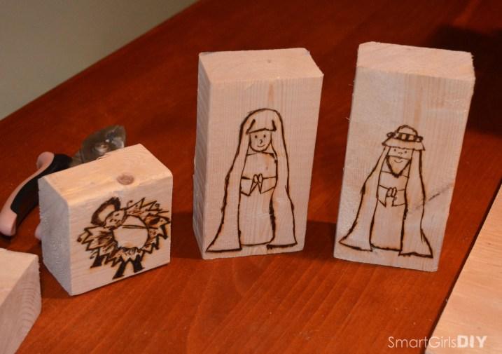 Wood Burning Block Set - Mary Joseph Jesus