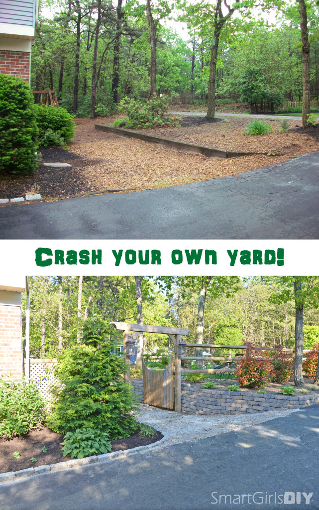 Crash your own yard - view of garbage can hideway enclosure