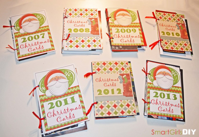 DIY Christmas Card Book Storage - organized by year
