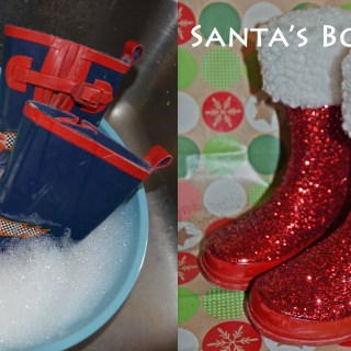 Upcycled Rain Boots to Santa Boots – Easy Christmas Craft