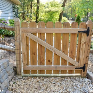 DIY wood gate for fence - hinges on inside, but latch on outside so kids can't reach it