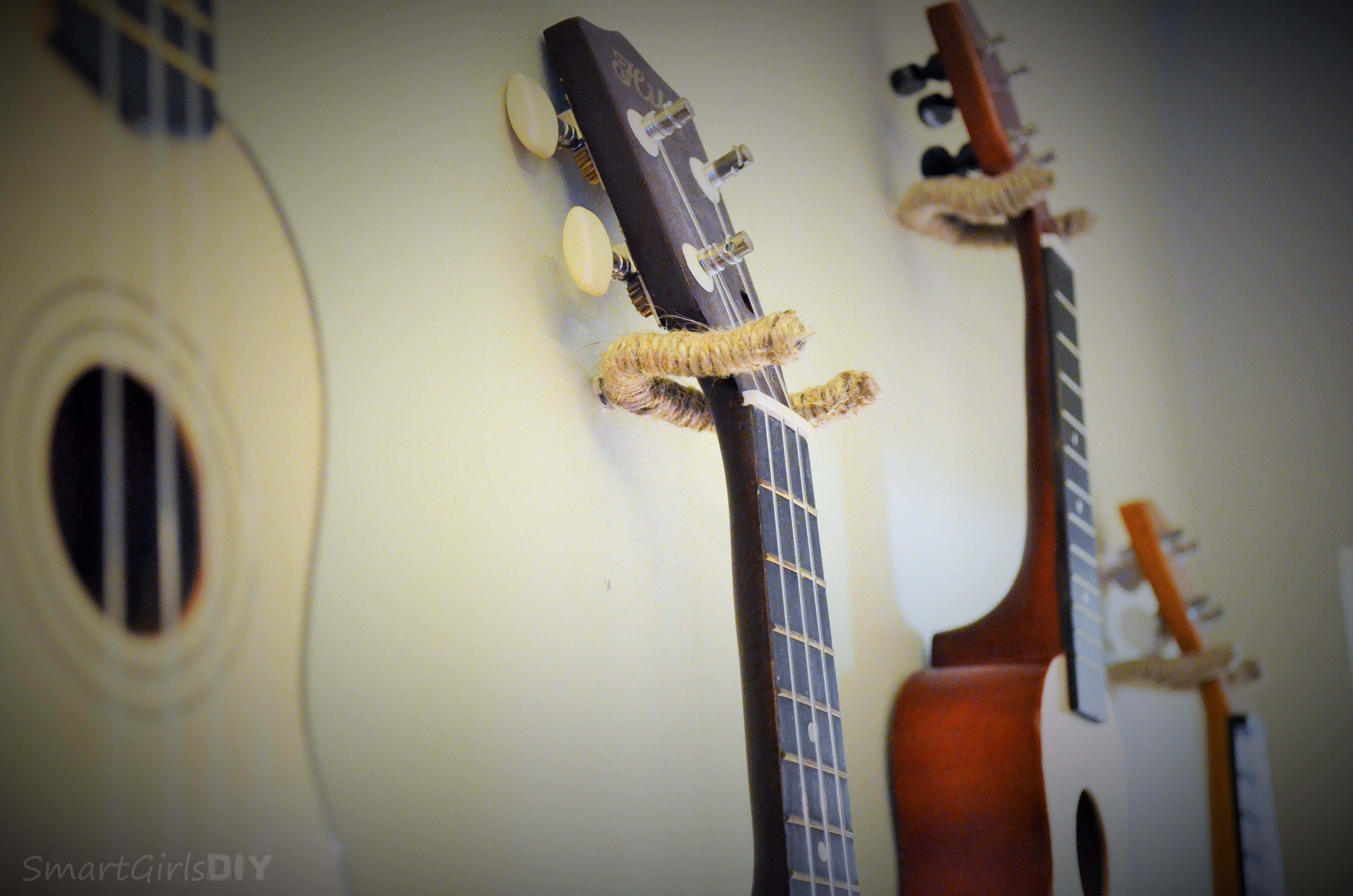 Jute wrapped diy ukulele hangers how to hang ukeleles on a wall smart girls diy make your own ukelele solutioingenieria Image collections