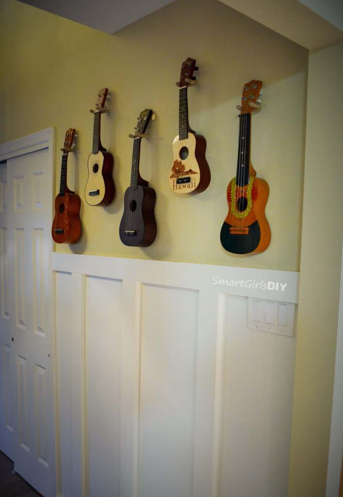 Ukeleles hanging on wall