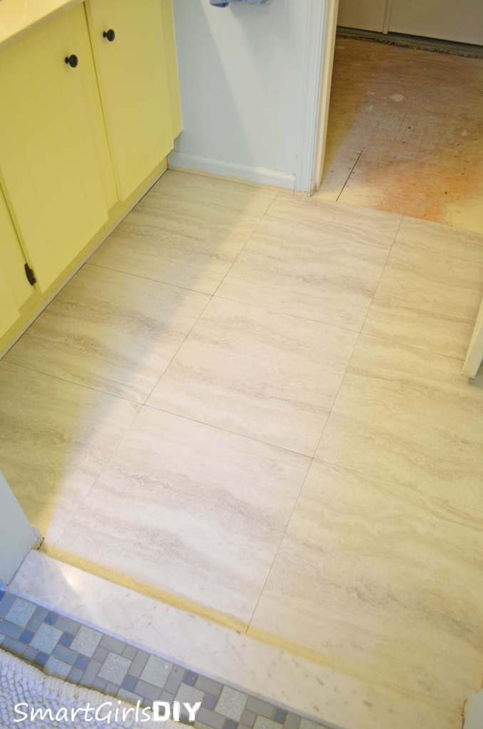 Bathroom vinyl tile over plywood