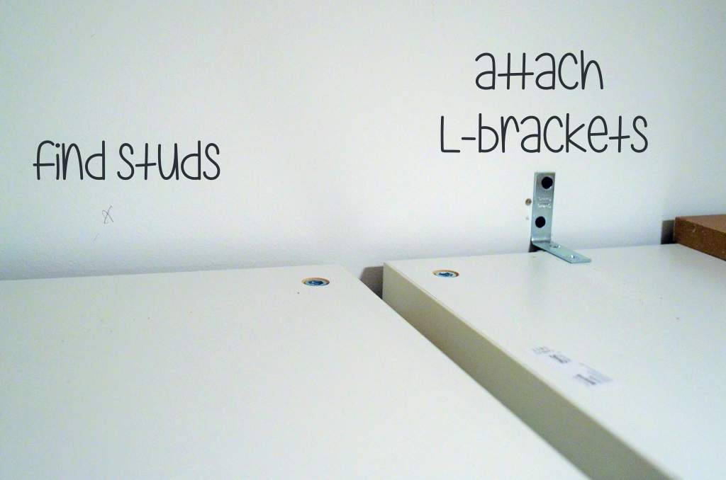 attaching bookshelves to wall with L brackets