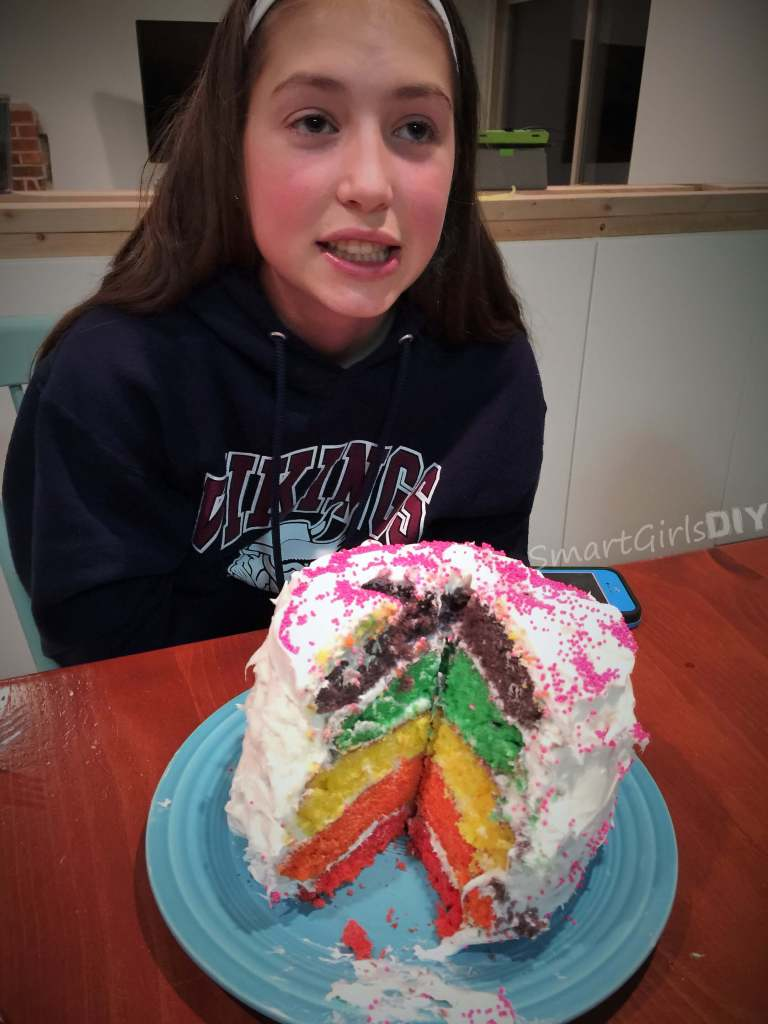 DIY 13th birthday rainbow cake