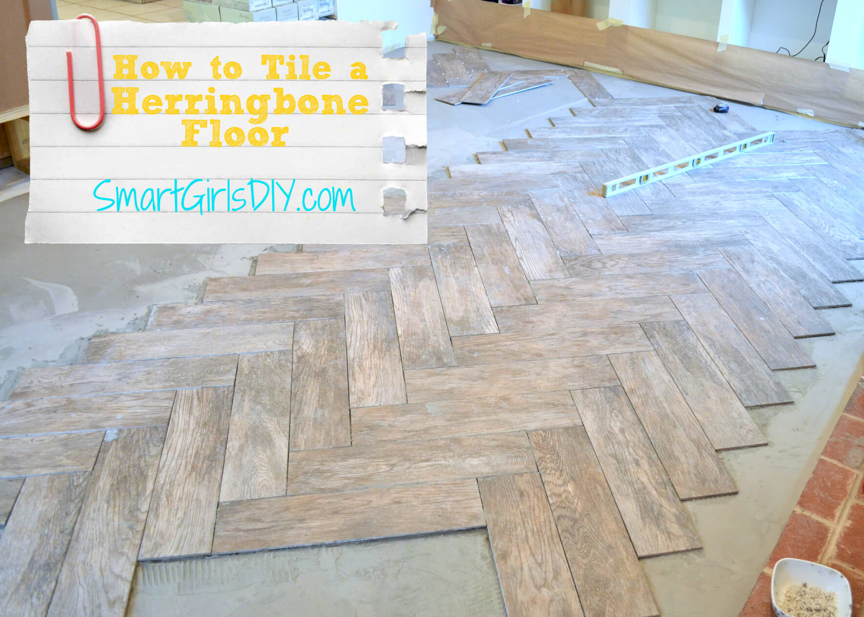 How To Tile a Herringbone Floor (Family Room 10)