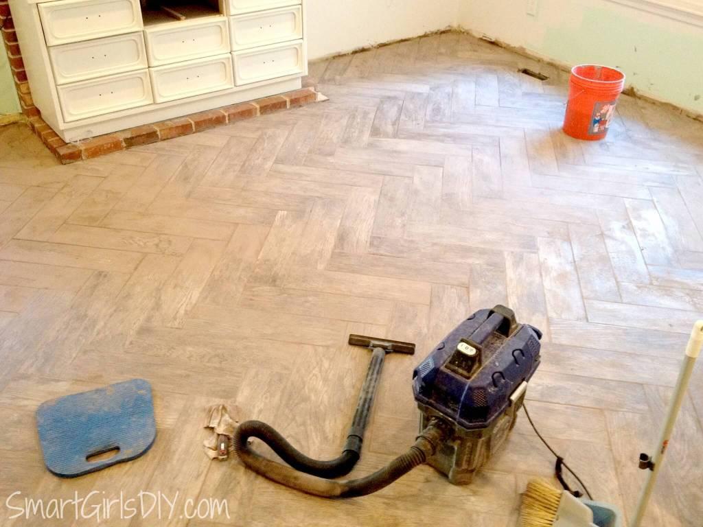 Cleaning grout off of herringbone wood-look tile