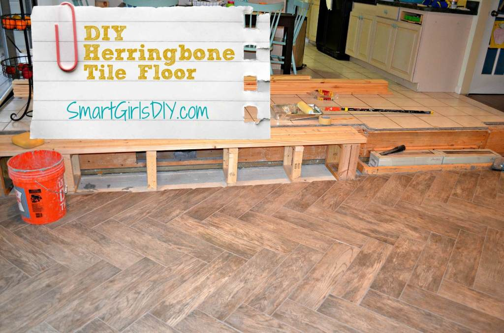 DIY Herringbone Tile Floor by Smart Girl