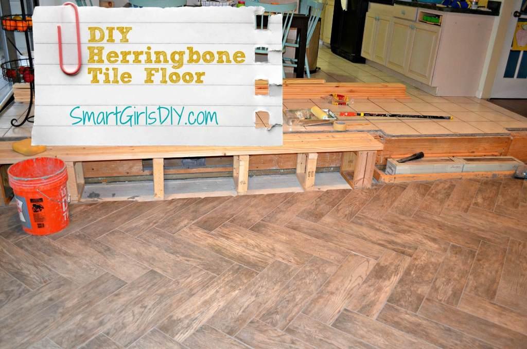 DIY Herringbone Tile Floor by Smart Girl