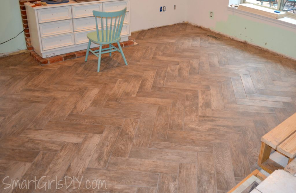 DIY Herringbone Tile Floor finally finished