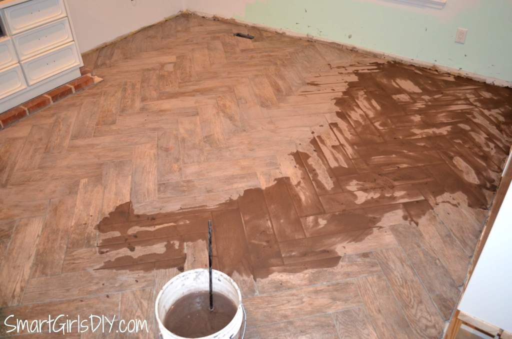 Grouting herringbone tile floor DIY