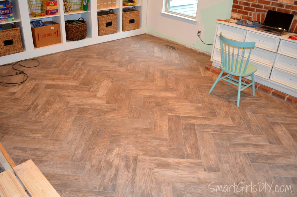 Home Depot Wood Look Floor Tile in Herringbone pattern