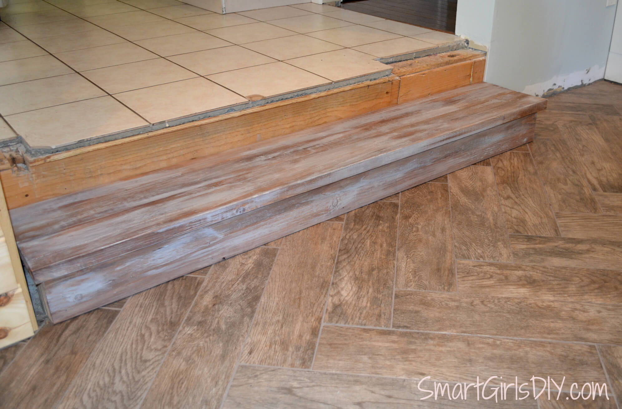 Flooring for kitchen and family room -  New Wider Step Down From Kitchen To Family Room