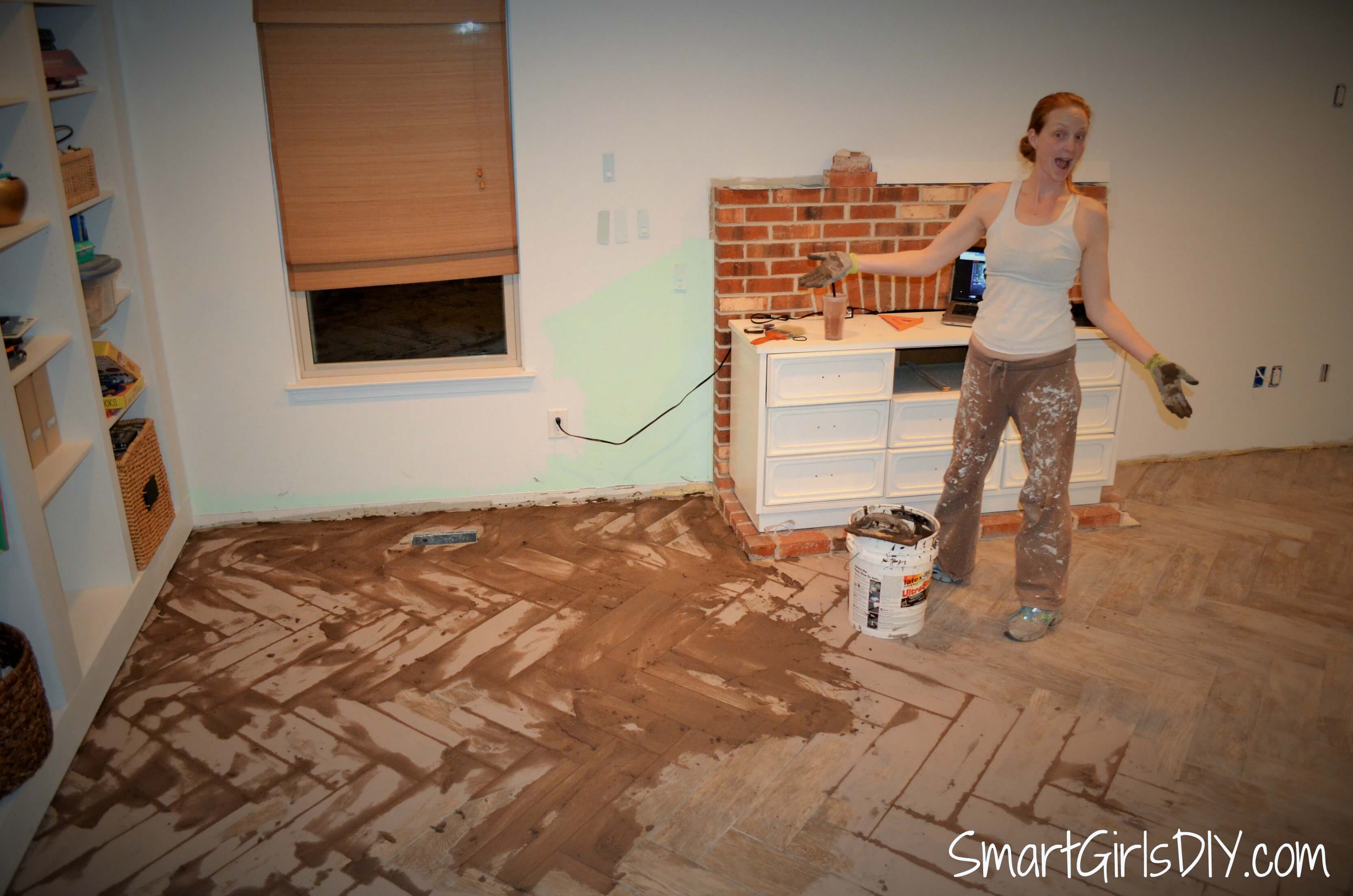 Grouting a herringbone tile floor family room 11 i am a grouting fool dailygadgetfo Images