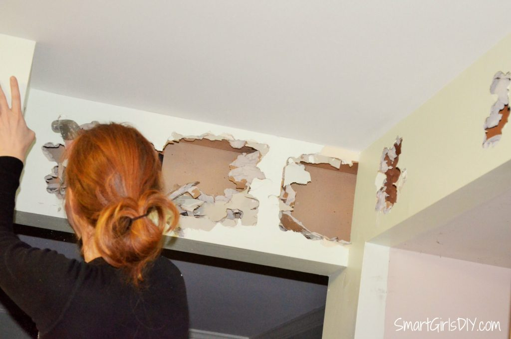 Kitchen demolition - time to see what is behind the drywall