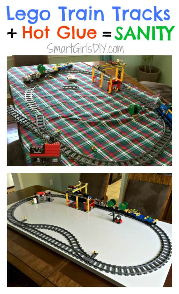 Lego Train Tracks plus Hot Glue equals Sanity