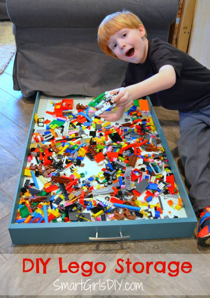 Make your own DIY under couch Lego storage drawer