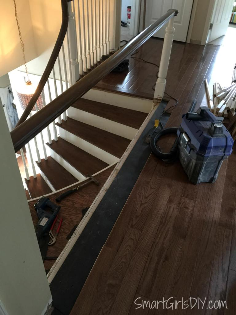 Removed wood under spindles
