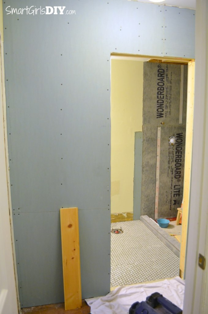 Add drywall after installing pocket door -- Tutorial by Smart Girls DIY