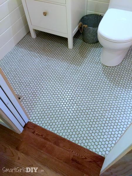 Guest Bathroom 7  DIY Hex Tile Floor Bathroom makeover   hexagon floor tiles with painted grout lines transition  to hardwood floor