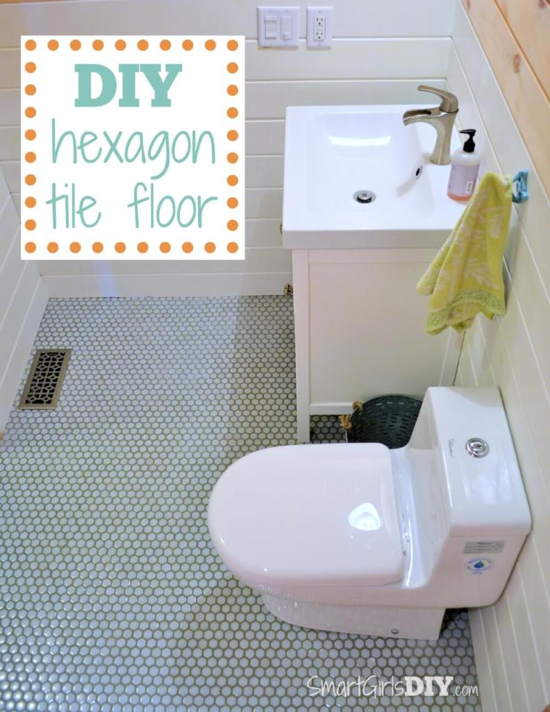 DIY hexagon tile floor - Smart Girls DIY
