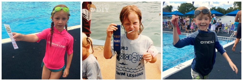 Family of swimmers - me when I was the same age as my kids